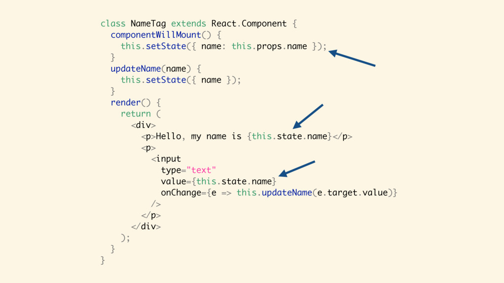 class NameTag extends React.Component { compone...