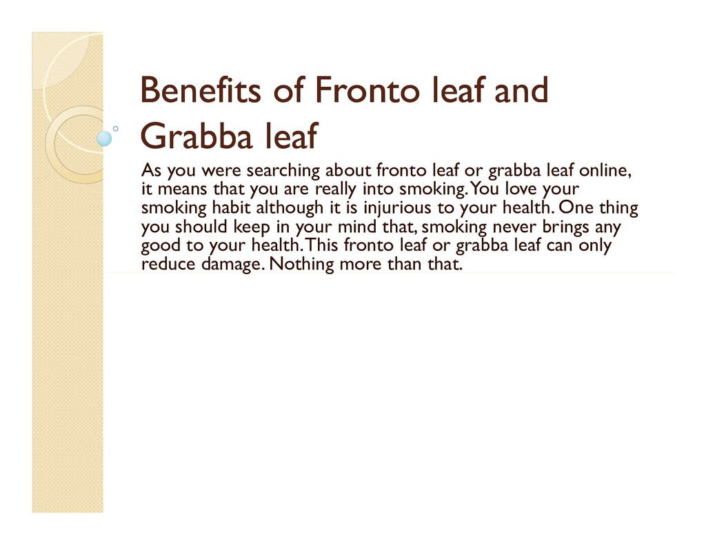 Benefits of Benefits of Fronto Fronto leaf and ...