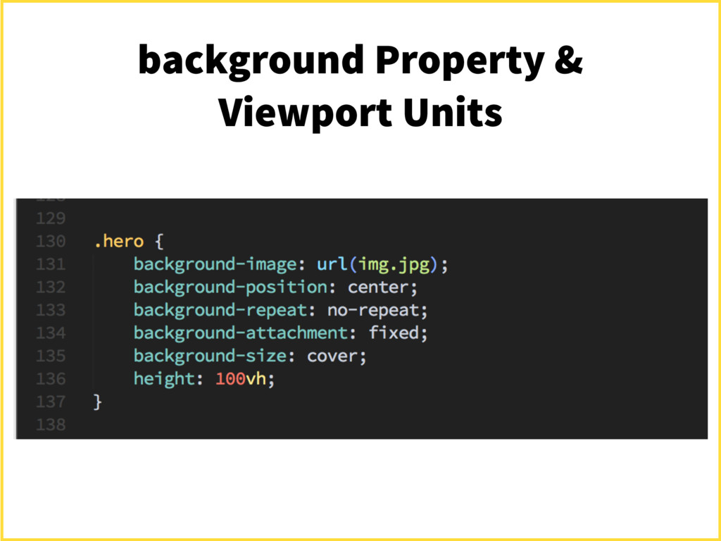 background Property & Viewport Units