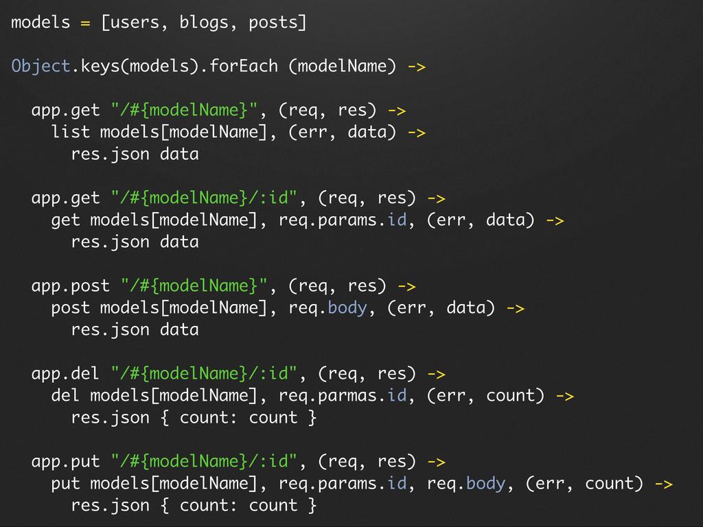 models = [users, blogs, posts] Object.keys(mode...