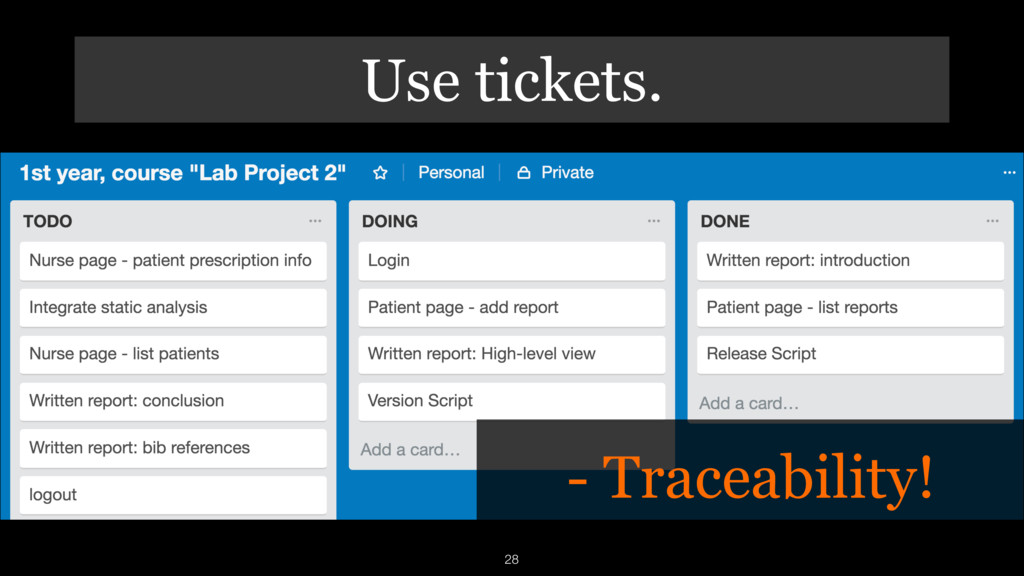 Use tickets. 28 - Traceability!