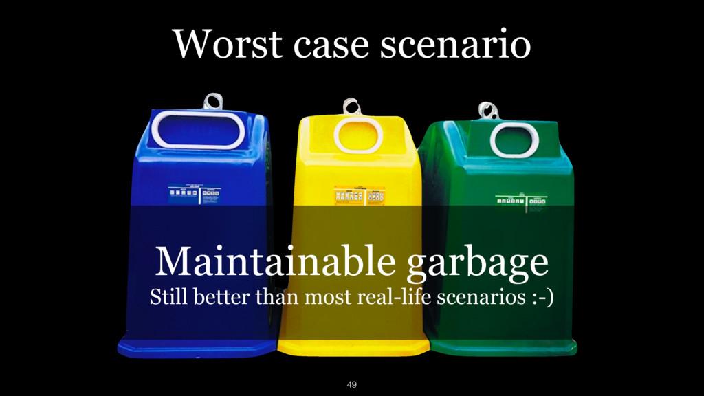 Worst case scenario Maintainable garbage Still ...