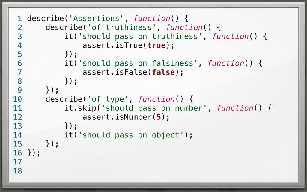 describe('Assertions', function() { describe('o...