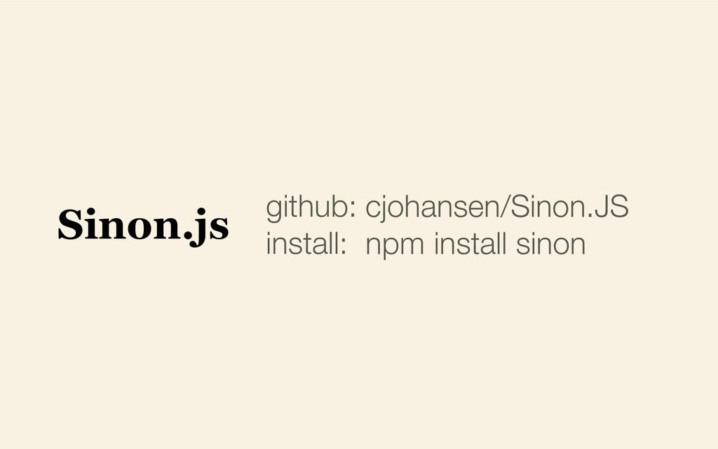 github: install: cjohansen/Sinon.JS npm install...