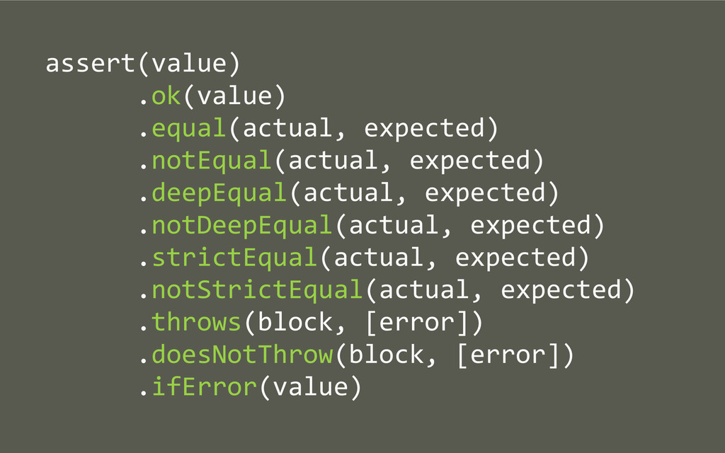 assert(value)       .ok(value...