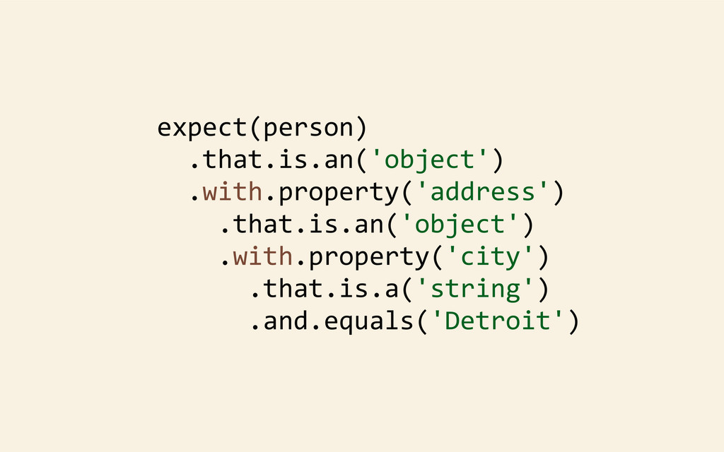 expect(person) 	
