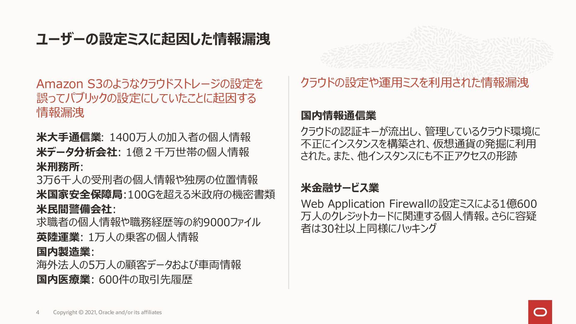 ユーザーの設定ミスによる情報漏洩リスク Amazon S3のようなクラウドストレージの設定を ...