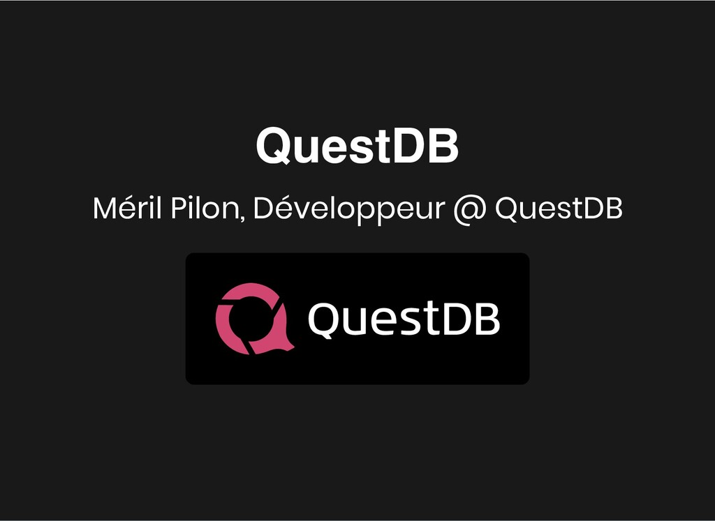 QuestDB QuestDB Méril Pilon, Développeur @ Ques...