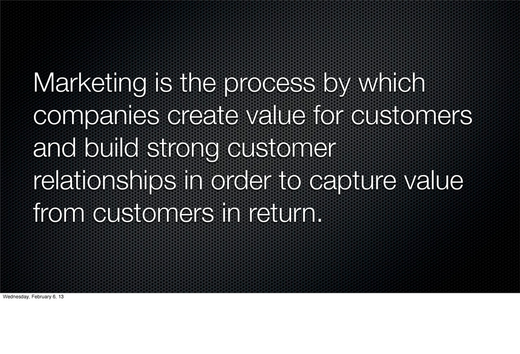 Marketing is the process by which companies cre...