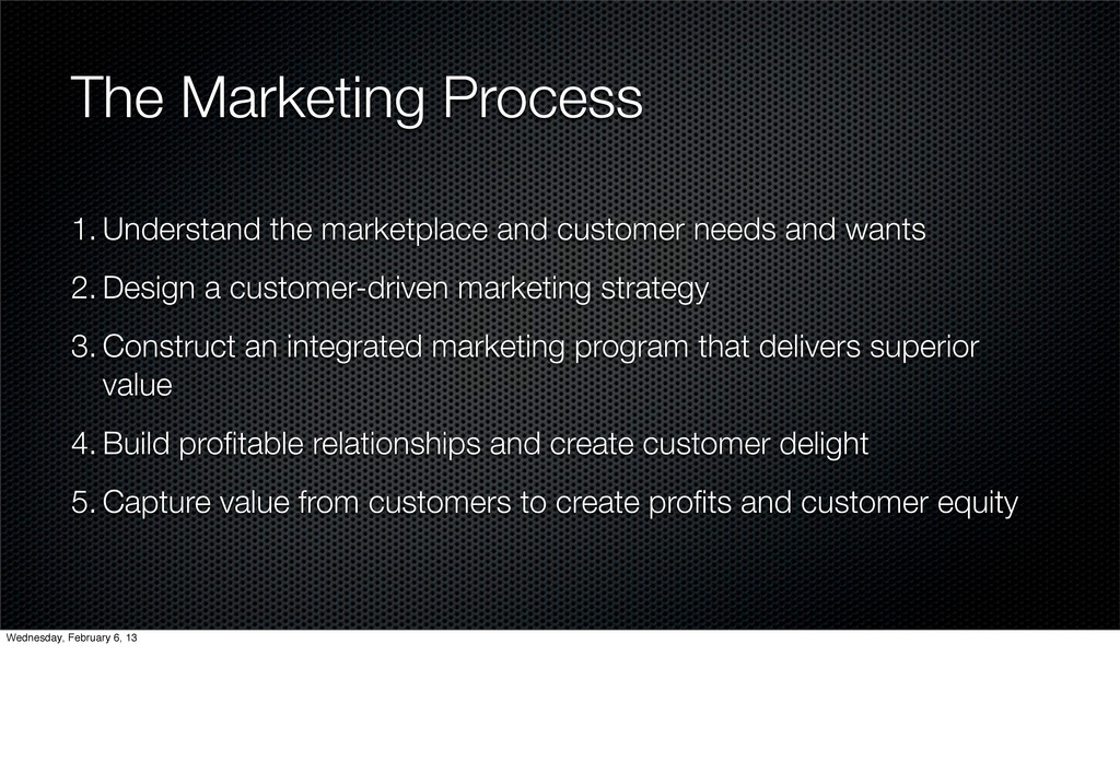 The Marketing Process 1. Understand the marketp...