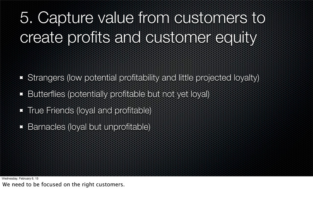 5. Capture value from customers to create profit...