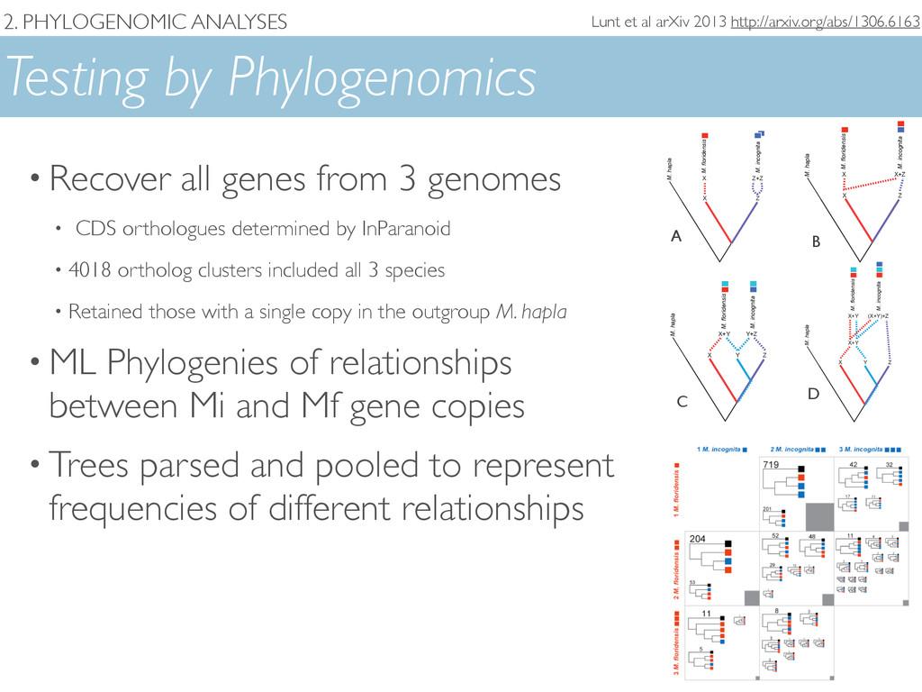 2. PHYLOGENOMIC ANALYSES Testing by Phylogenomi...