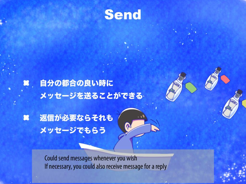 Send ࣗͷ߹ͷྑ͍ʹ ϝοηʔδΛૹΔ͜ͱ͕Ͱ͖Δ ฦ৴͕ඞཁͳΒͦΕ ϝοη...