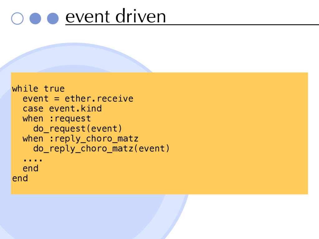 event driven while true event = ether.receive c...