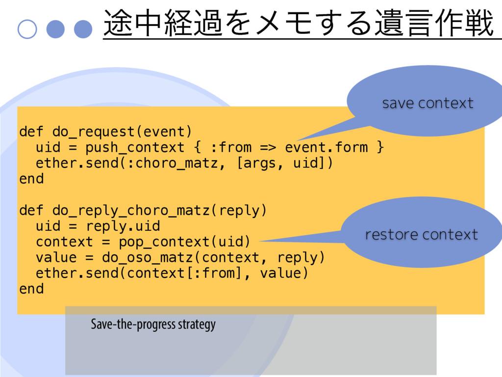 ్தܦաΛϝϞ͢ΔҨݴ࡞ઓ def do_request(event) uid = push_...
