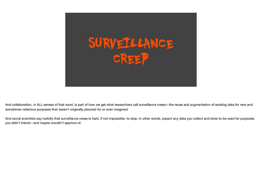 SURVEILLANCE CREEP And collaboration, in ALL se...