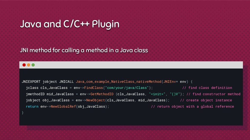 JNI method for calling a method in a Java class...