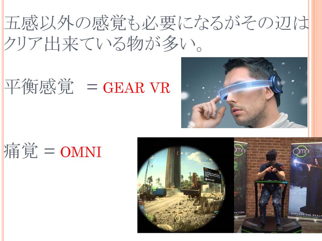 五感以外の感覚も必要になるがその辺は クリア出来ている物が多い。 平衡感覚 = GEAR VR...