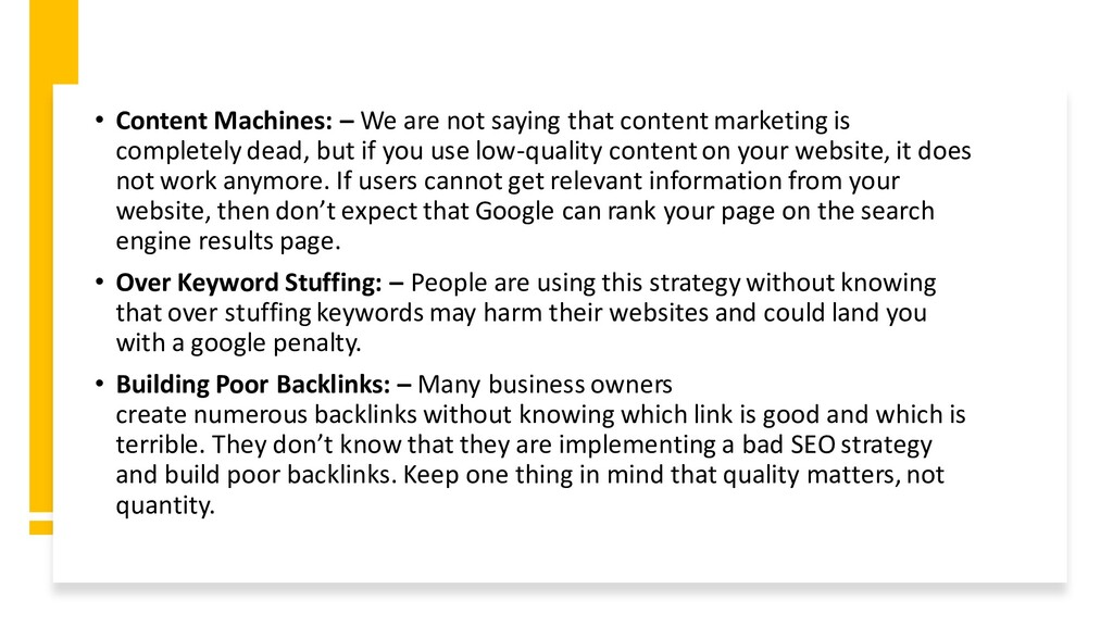 • Content Machines: – We are not saying that co...