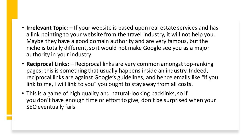 • Irrelevant Topic: – If your website is based ...