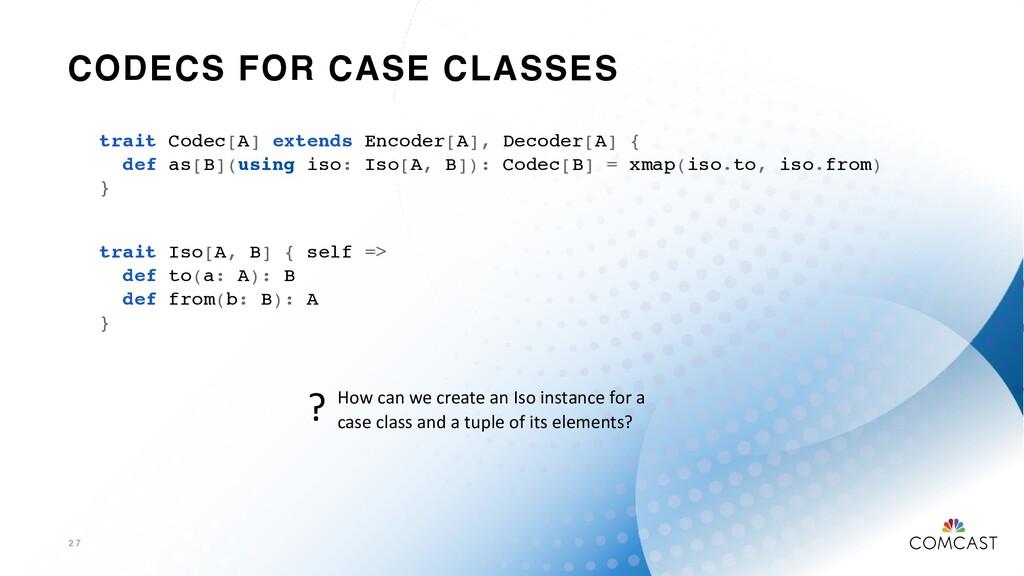 CODECS FOR CASE CLASSES 2 7 trait Codec[A] exte...