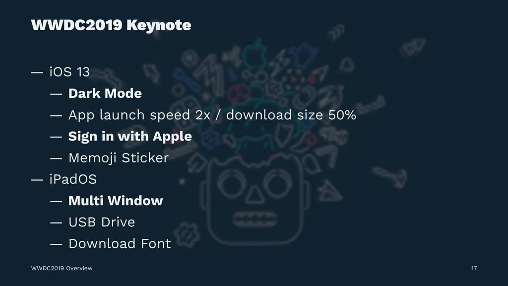 WWDC2019 Keynote — iOS 13 — Dark Mode — App lau...