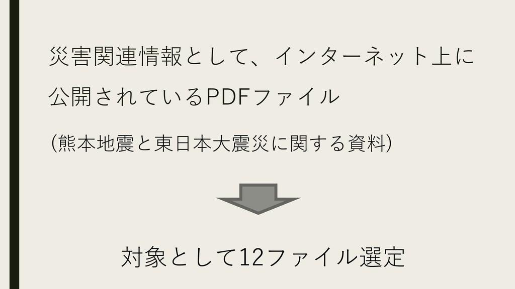 災害関連情報として、インターネット上に 公開されている PDFファイル (熊本地震と東日本大震...