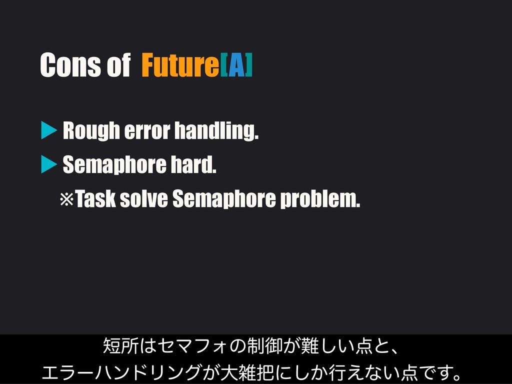 Cons of Future[A] ▶ Rough error handling. ▶ Sem...
