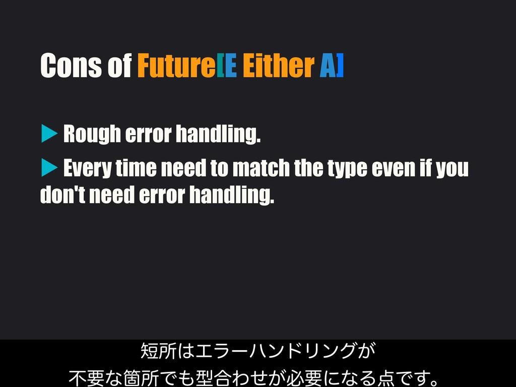 Cons of Future[E Either A] ▶ Rough error handli...