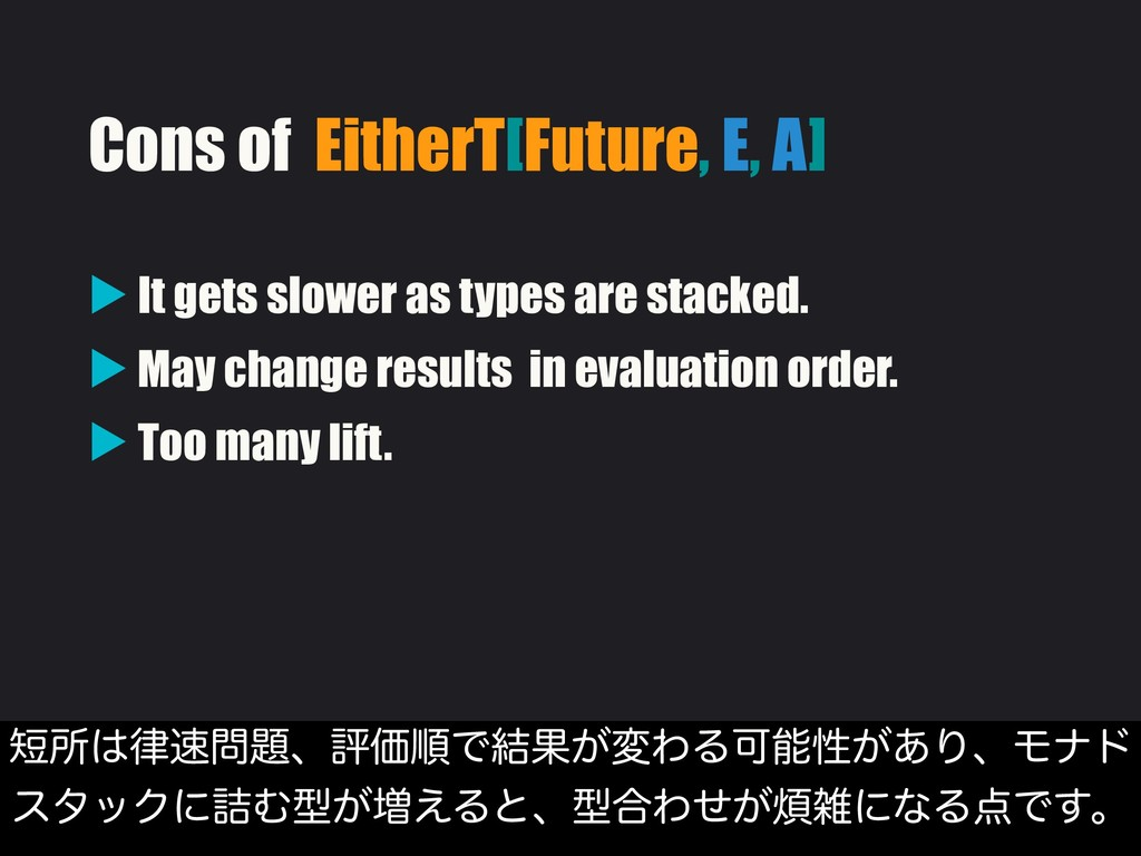 Cons of EitherT[Future, E, A] ▶ It gets slower ...