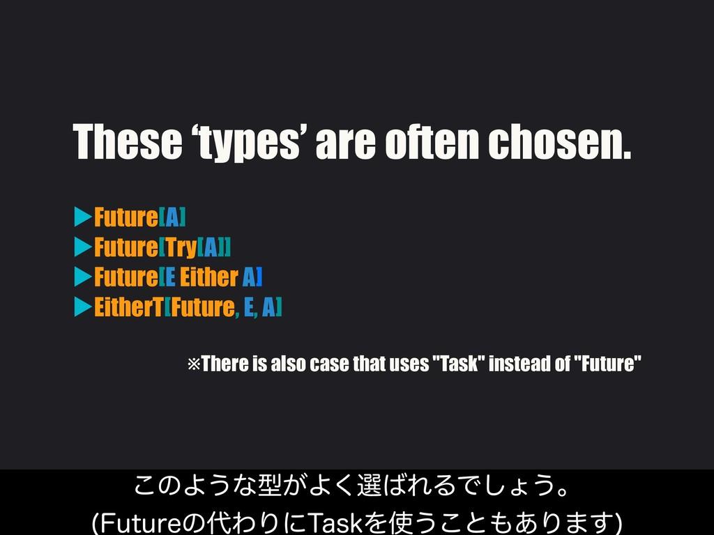 These 'types' are often chosen. ▶Future[A] ▶Fut...
