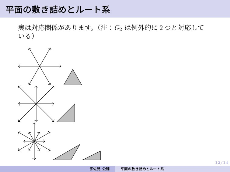 12/14 平面の敷き詰めとルート系 実は対応関係があります。 (注:G2 は例外的に 2 つ...