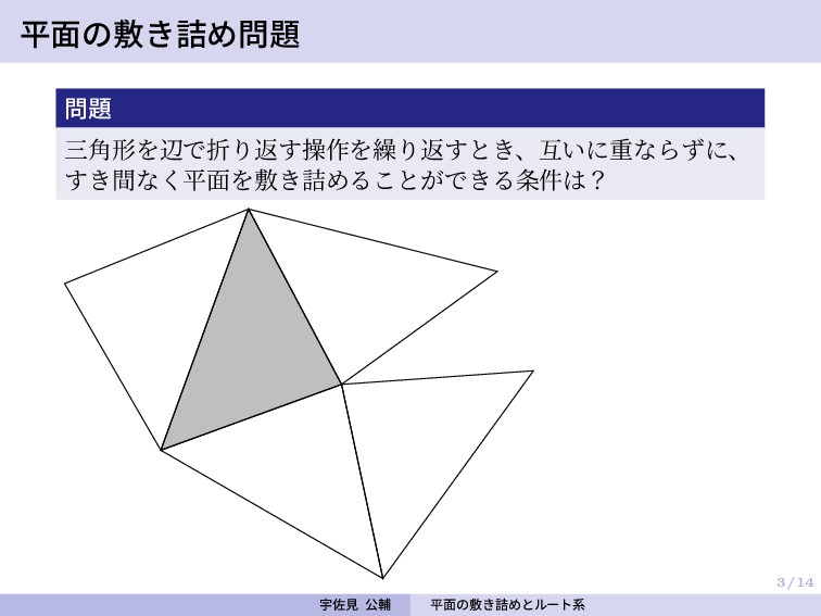 3/14 平面の敷き詰め問題 問題 三角形を辺で折り返す操作を繰り返すとき、互いに重ならずに、...