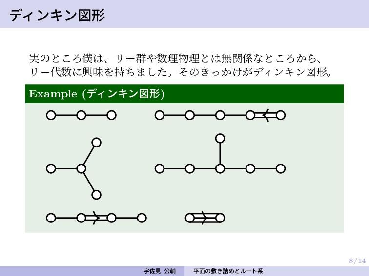 8/14 ディンキン図形 実のところ僕は、リー群や数理物理とは無関係なところから、 リー代数に...
