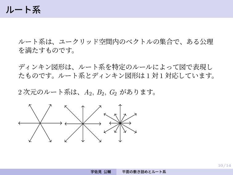 10/14 ルート系 ルート系は、ユークリッド空間内のベクトルの集合で、ある公理 を満たすもの...
