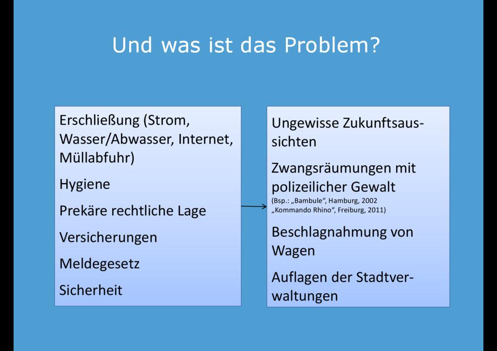 Und was ist das Problem? Und was ist das Proble...