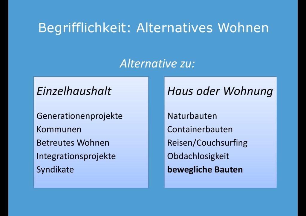 Begrifflichkeit: Alternatives Wohnen Begrifflic...