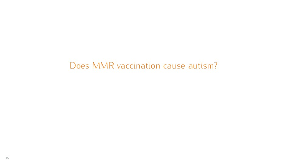Does MMR vaccination cause autism? 15