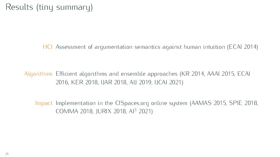 Results (tiny summary) HCI Assessment of argume...