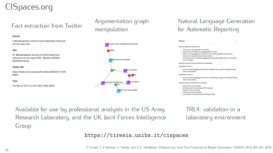 CISpaces.org Fact extraction from Twitter Argum...
