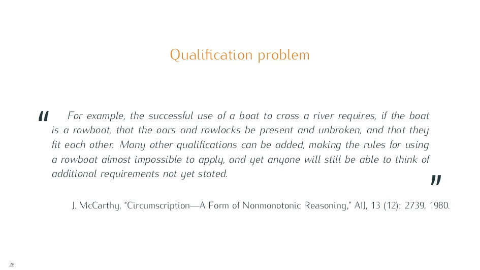 """Qualification problem """" For example, the success..."""