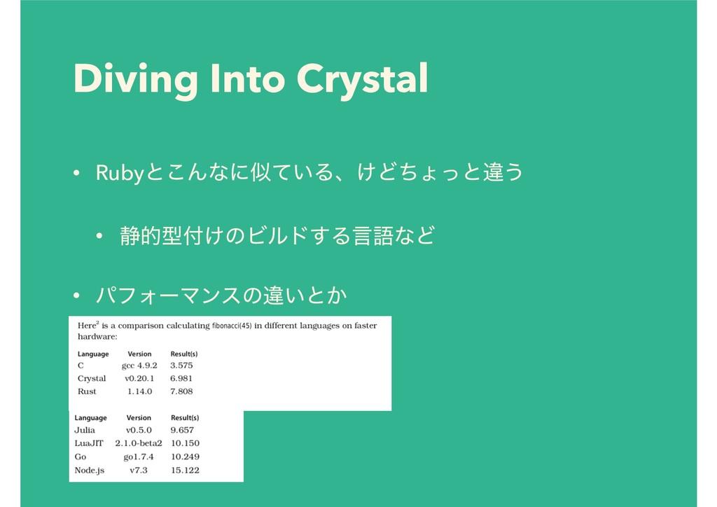 Diving Into Crystal • Rubyͱ͜Μͳʹ͍ͯΔɺ͚Ͳͪΐͬͱҧ͏ • ...
