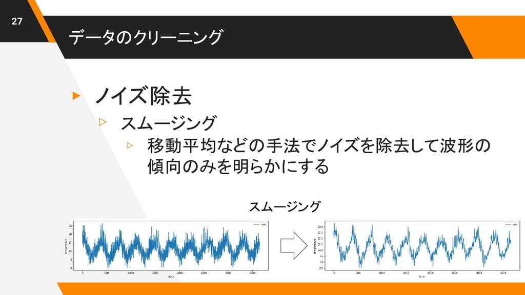 データのクリーニング ▸ ノイズ除去 ▹ スムージング ▹ 移動平均などの手法でノイズを除去し...