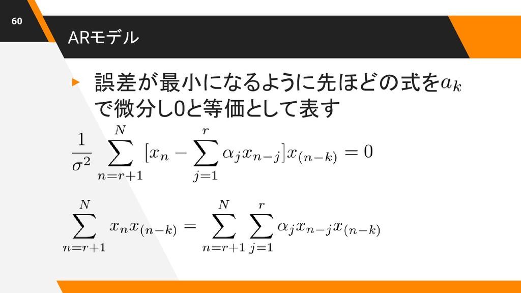 ARモデル ▸ 誤差が最小になるように先ほどの式を   で微分し0と等価として表す 60