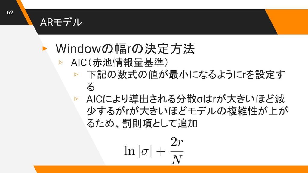 ARモデル ▸ Windowの幅rの決定方法 ▹ AIC(赤池情報量基準) ▹ 下記の数式の値...
