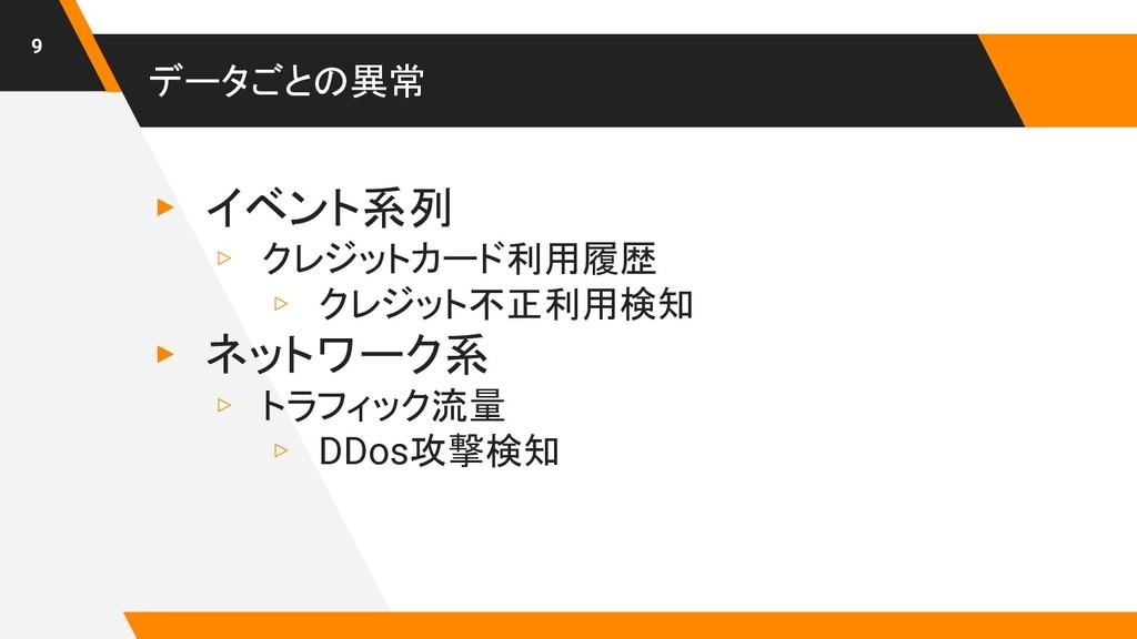 データごとの異常 ▸ イベント系列 ▹ クレジットカード利用履歴 ▹ クレジット不正利用検知 ...