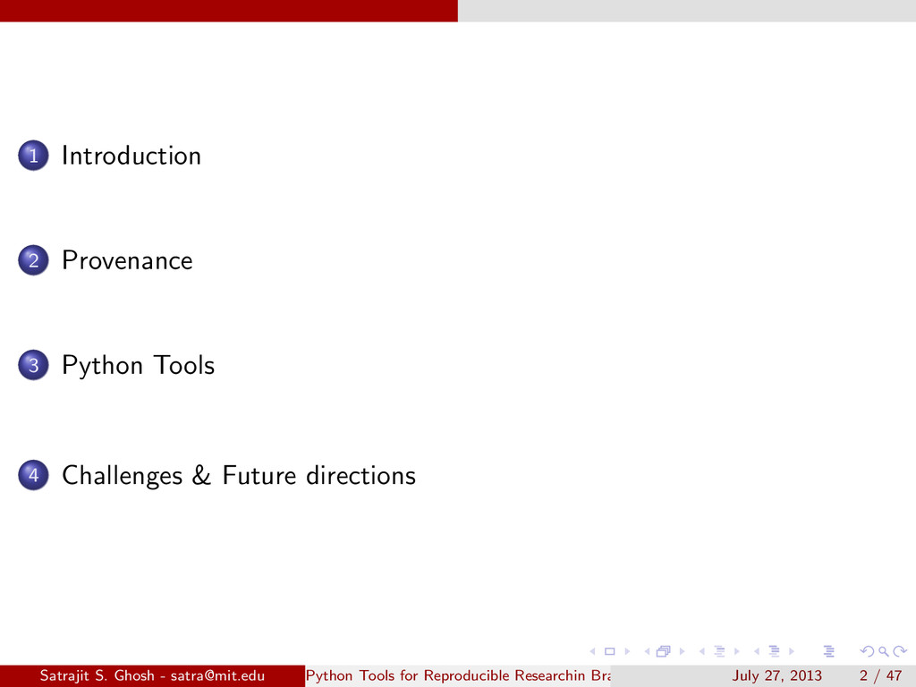 1 Introduction 2 Provenance 3 Python Tools 4 Ch...