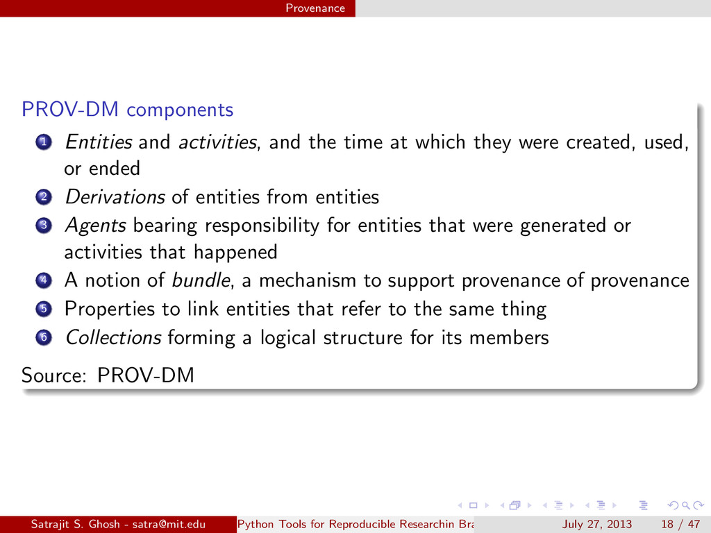 Provenance PROV-DM components 1 Entities and ac...