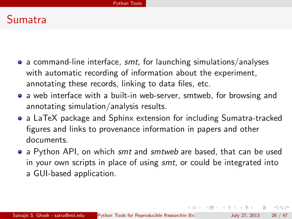 Python Tools Sumatra a command-line interface, ...