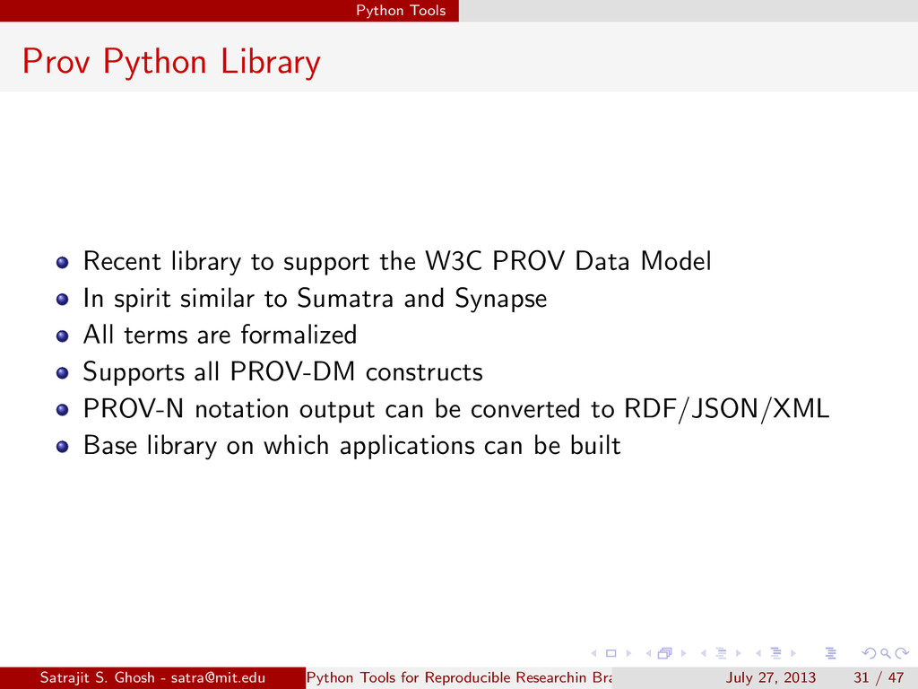 Python Tools Prov Python Library Recent library...